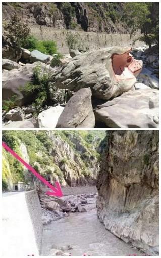 In Valle Roya il 'maialino' sul fiume ha resistito: la roccia c'è ancora ma dovrà essere ripitturato