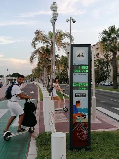 Contatore dei passaggi in bicicletta sulla Promenade des Anglais