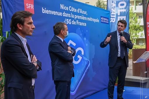 La presentazione del 5G a Nizza: Alain Weill, Grégory Rabuel con Christian Estrosi,