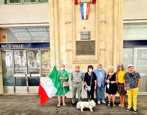 Rappresentanti dell'Anpi Costa Azzurra alla Gare de Thiers l'8 settembre 2021