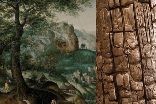 """Détail, Martin Van Valckenborch (Louvain, 1535 – Frankfurt, 1612), """"Extensive Landscape with a River on the Valley"""", De Jonckheere Gallery / Détail, Philippe Pastor (Monaco, 1961-), """"Les Arbres Brûlés"""", bronze, 2018"""