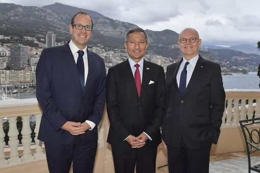 En fin de journée, le Ministre singapourien et Frédéric Genta ont été reçus par le Ministre d'Etat, Serge Telle en sa Résidence.   ©Direction de la Communication – Michael Alesi