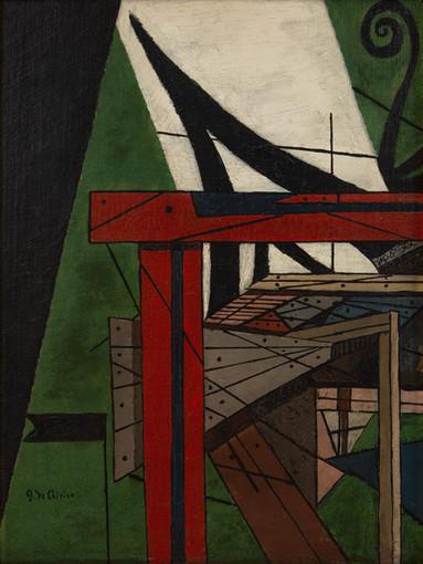 Giorgio de Chirico Intérieur métaphysique, 1916 Huile sur toile, 33,02 x 25,40 cm Collection particulière © ADAGP, Paris, 2021 Photo © D.R.