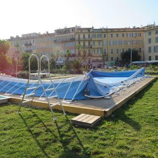 La piscina sulla Promenade du Paillon che verrà inaugurata il 1° luglio